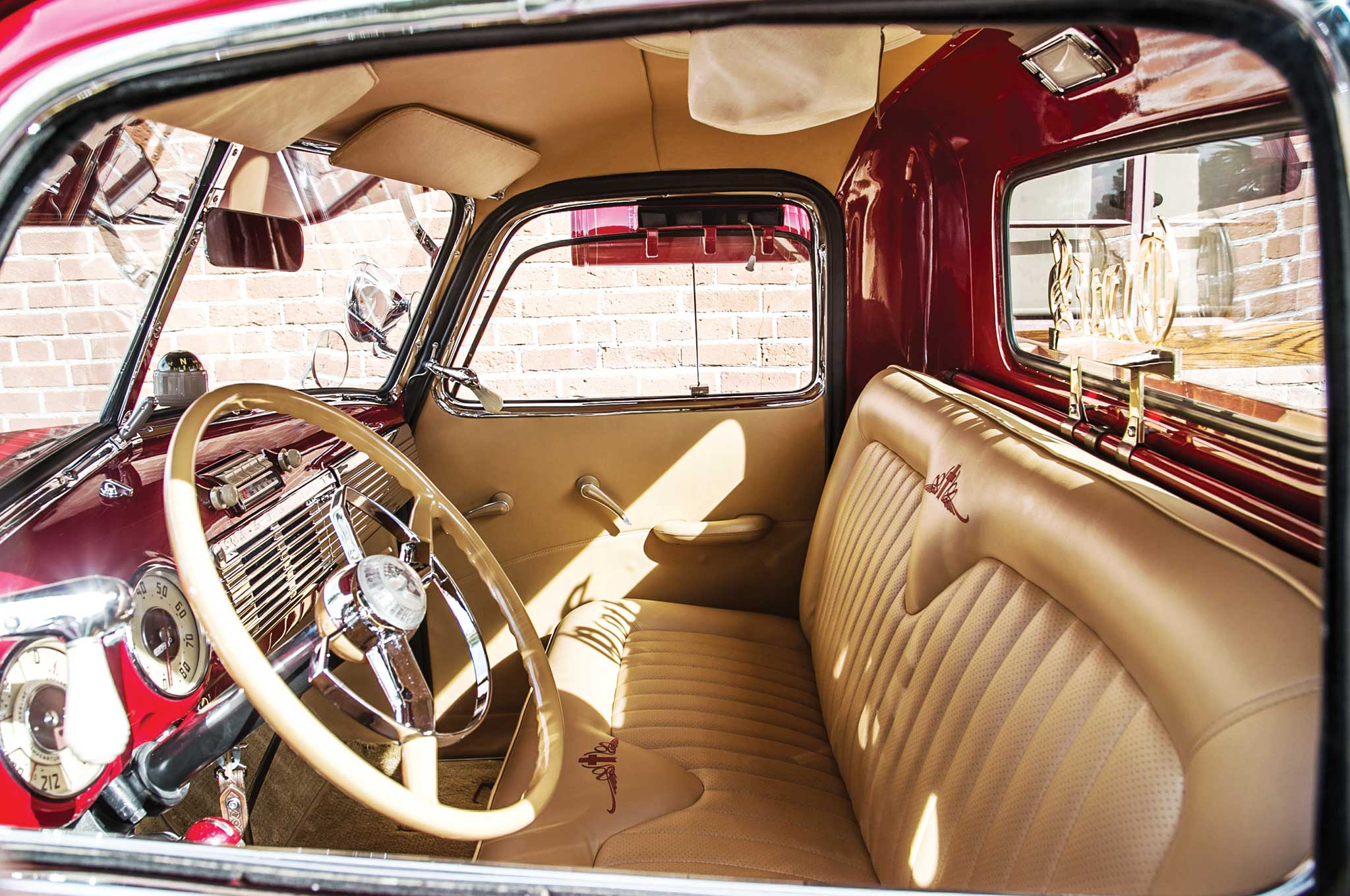 006 1949 chevy 3100 stake bed custom camel colored leather interior