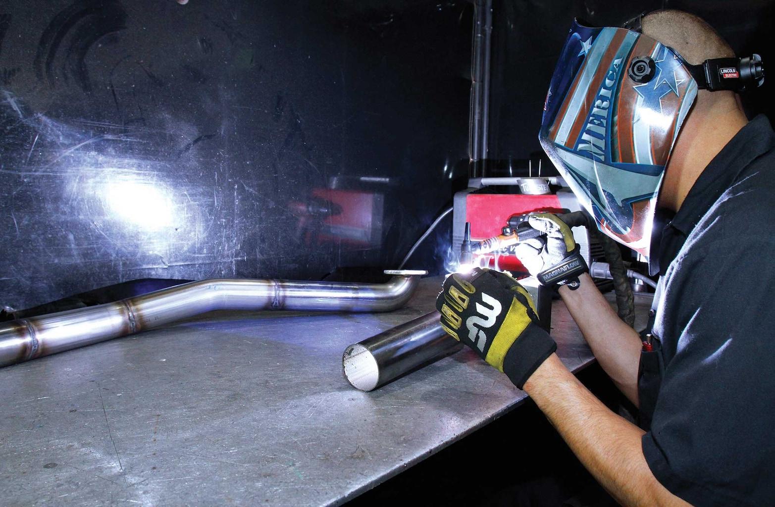 006 magnaflow exhaust install header collector flange welding