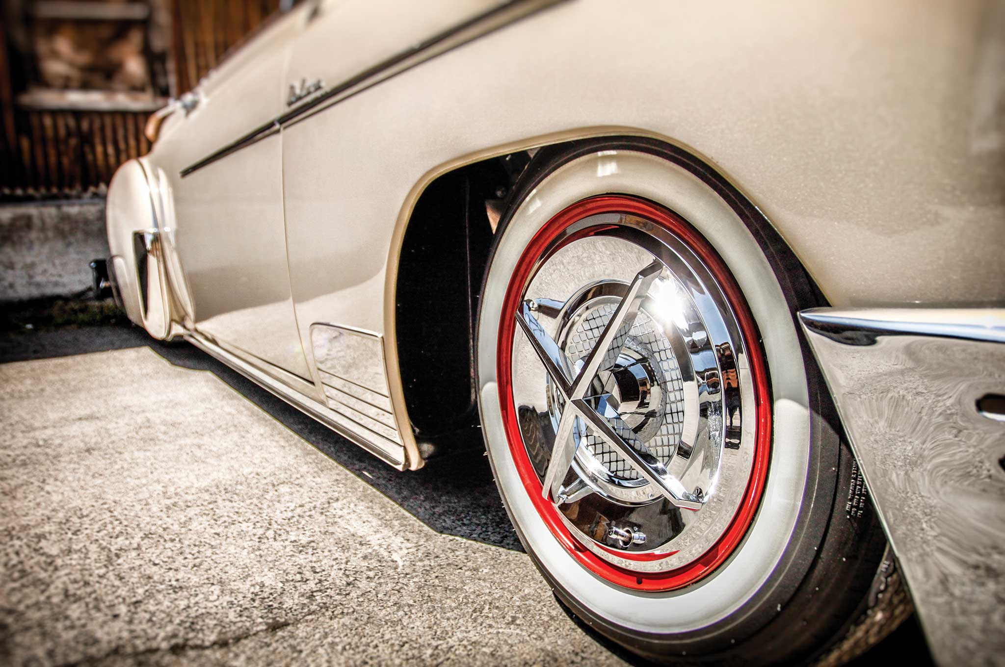 A set of crossbar-style hubcaps, popular with '40s- and '50s-style riders go for $300 a set.
