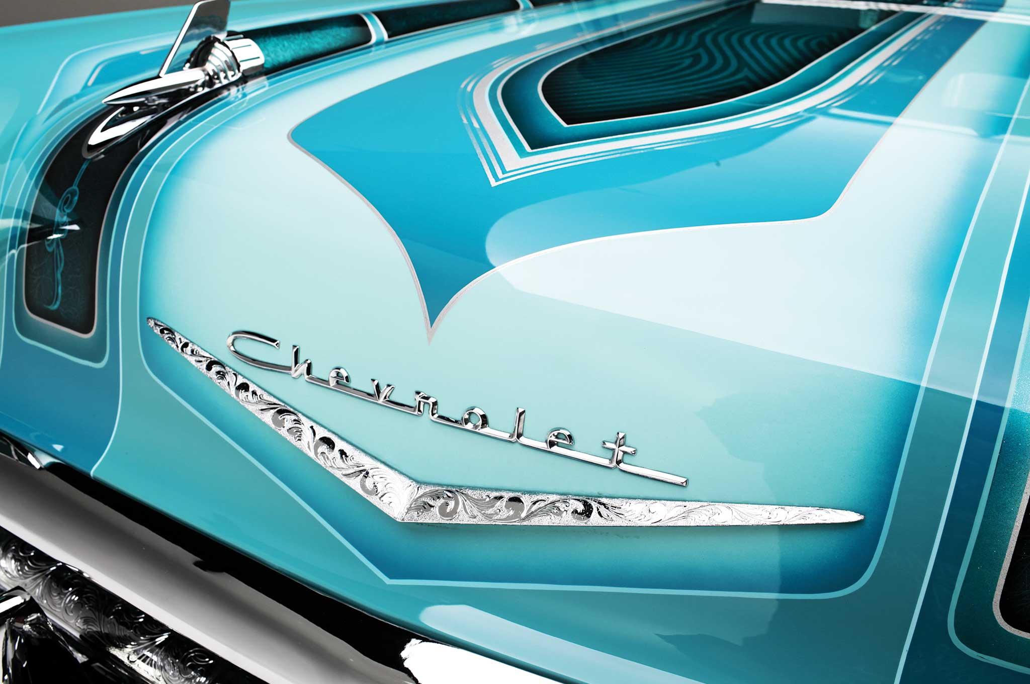 1957 chevrolet bel air hood badge 006