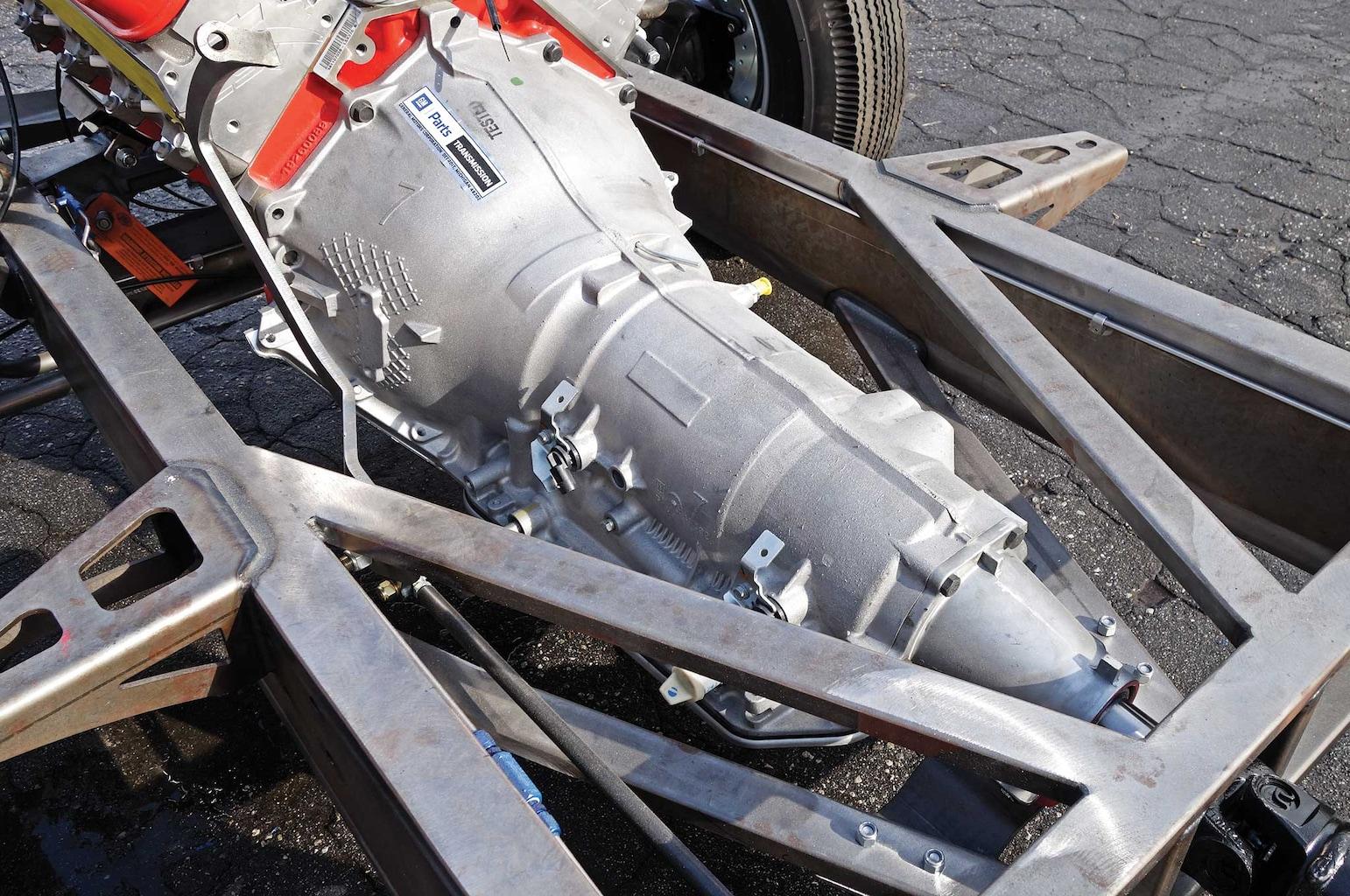 54 bomb truck drivetrain install 4l85 transmission 005
