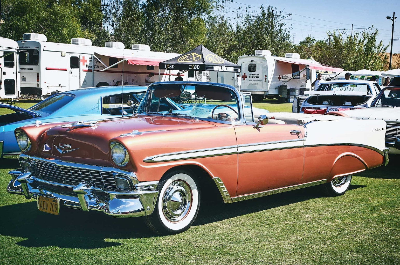 Bombs, traditionals, and even originals like this '56 Bel Air showed up to support the cause.