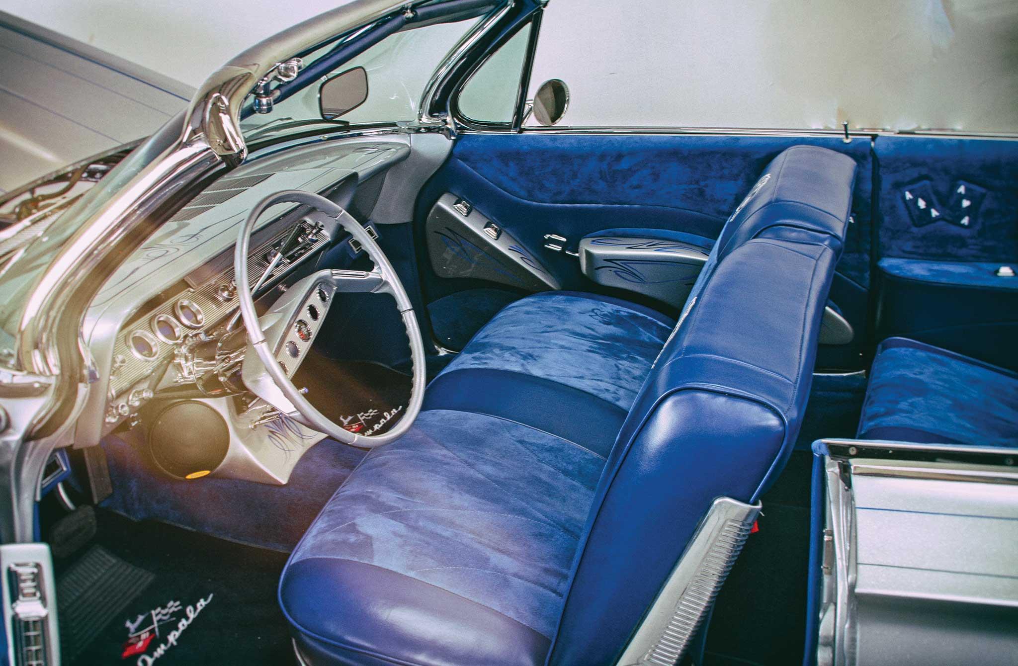 1961 chevrolet impala convertible blue seude interior 003