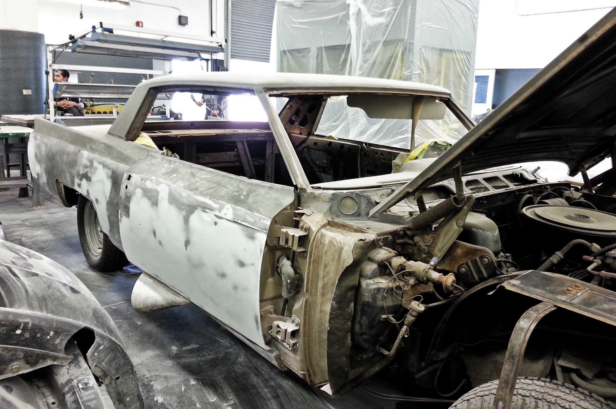 painting our 64 cadillac bare metal stripping 005