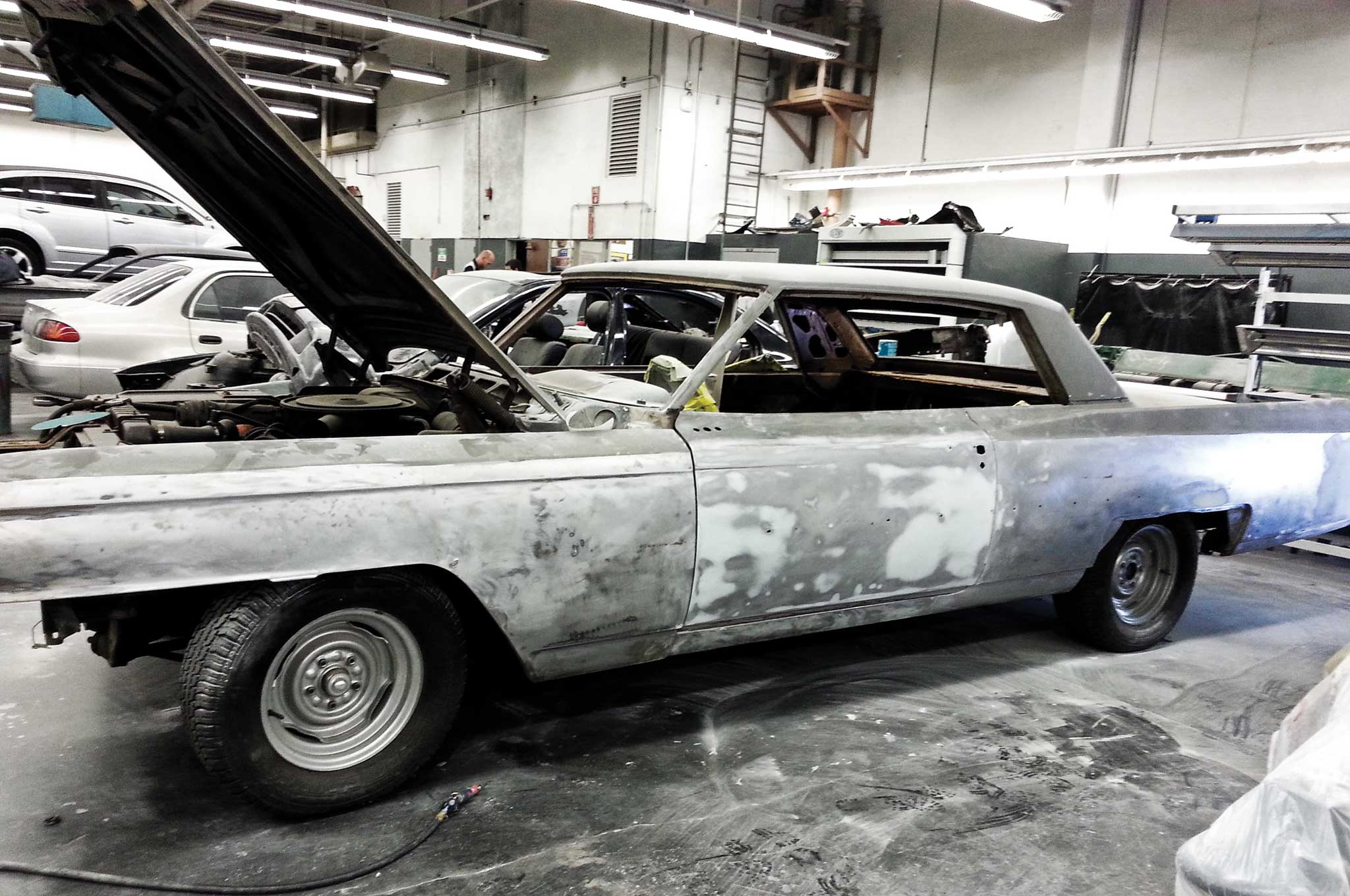 painting our 64 cadillac bare metal stripping 006