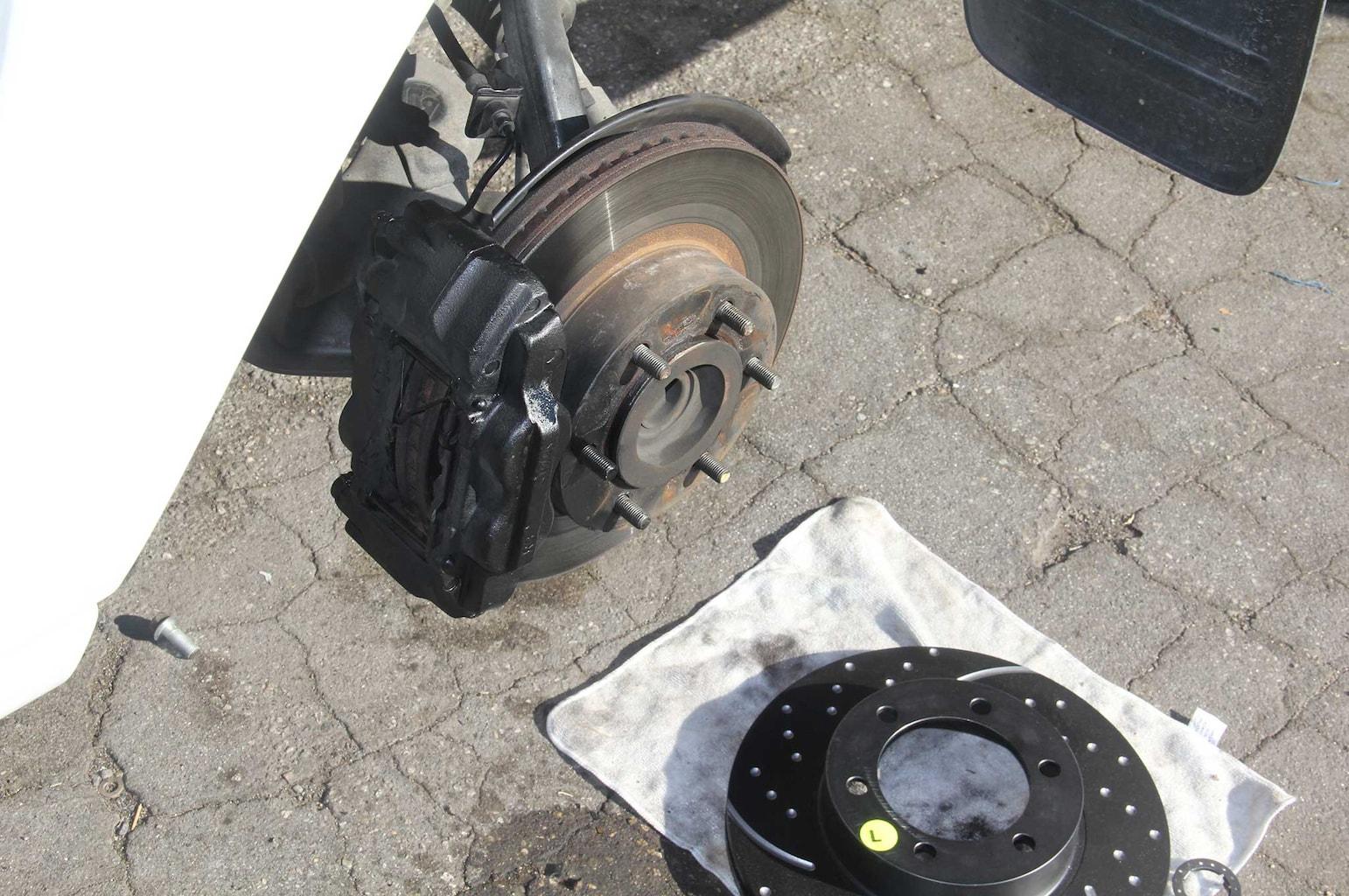 ebc brakes gd rotor and truck pad install caliper pin loosening 002
