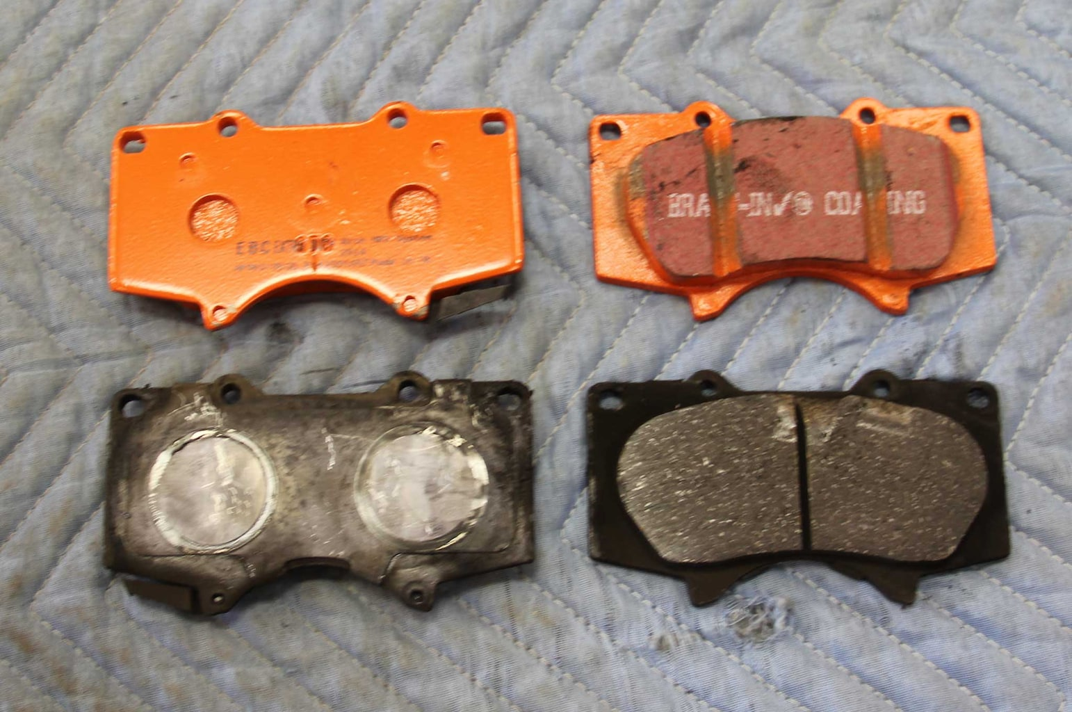 ebc brakes gd rotor and truck pad install pad comparison 008