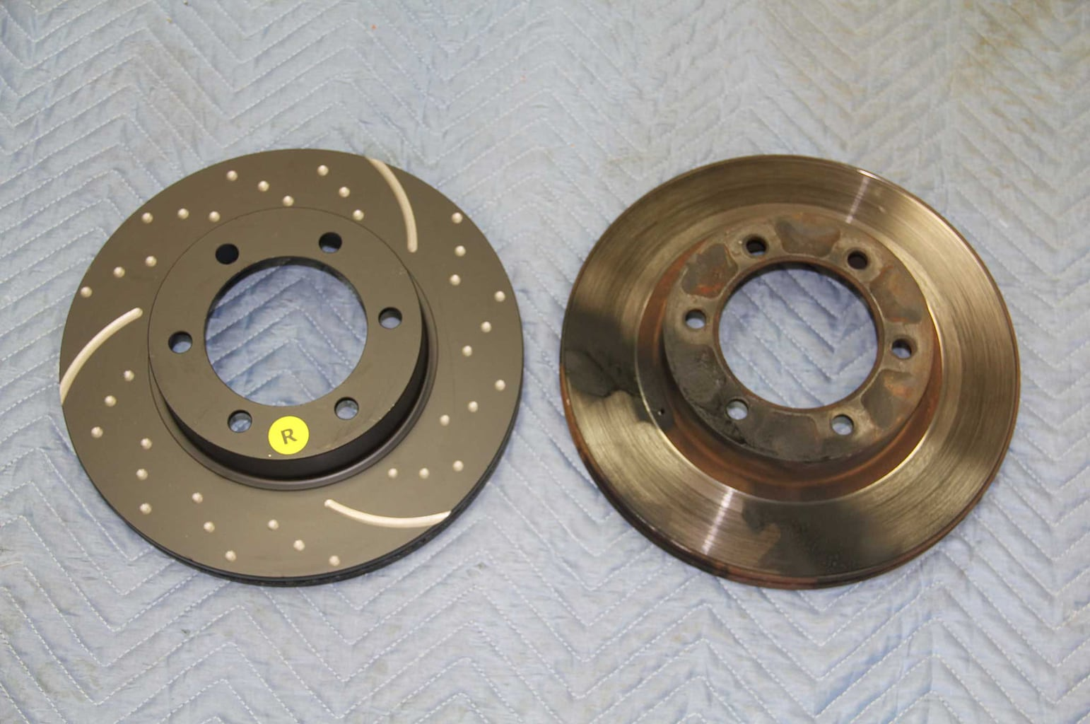 ebc brakes gd rotor and truck pad install rotor comparison 005