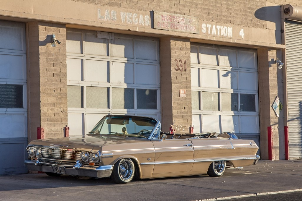 1963 chevrolet impala convertible profile in front of las vegas fire station alt1