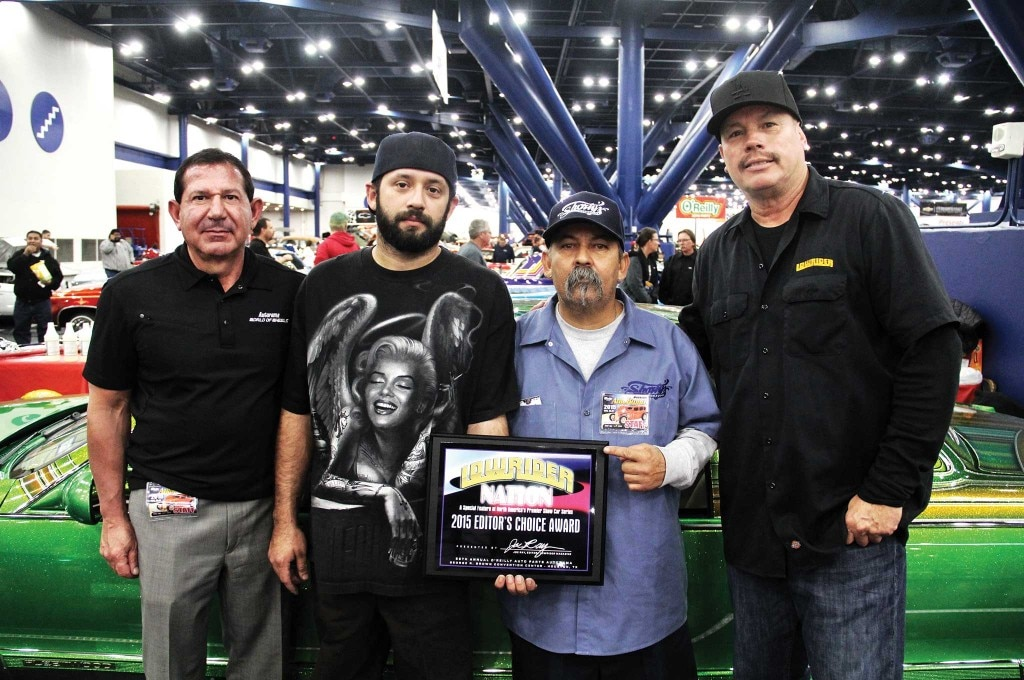 The Editor's Choice Award goes to Shorties Hydraulics' lime-flaked Cadillac. AutoRama Show Promoter Pete Toundas and LOWRIDER Editor Joe Ray