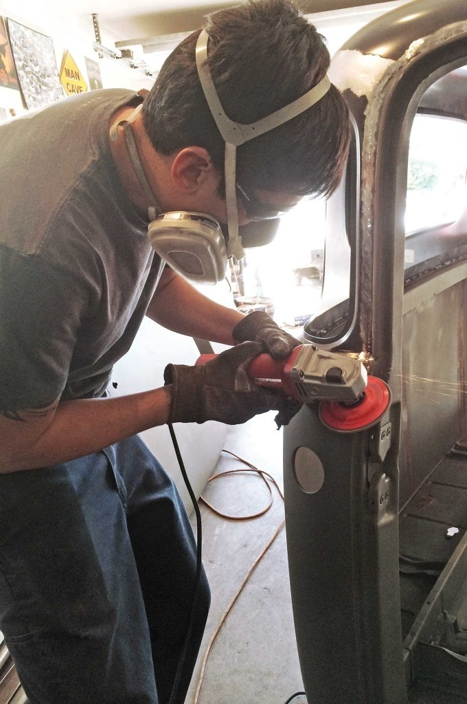 chevy truck 5 window conversion weld grinding 022