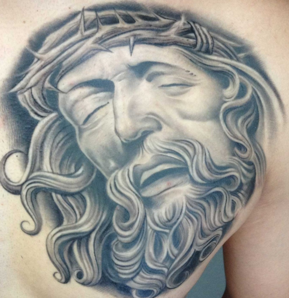 gilbert salas tattoo art black gray jesus christ thorn crown