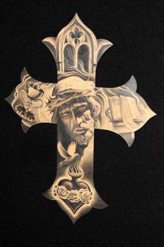 gilbert salas tattoo art pencil cross jesus christ bible sacret heart