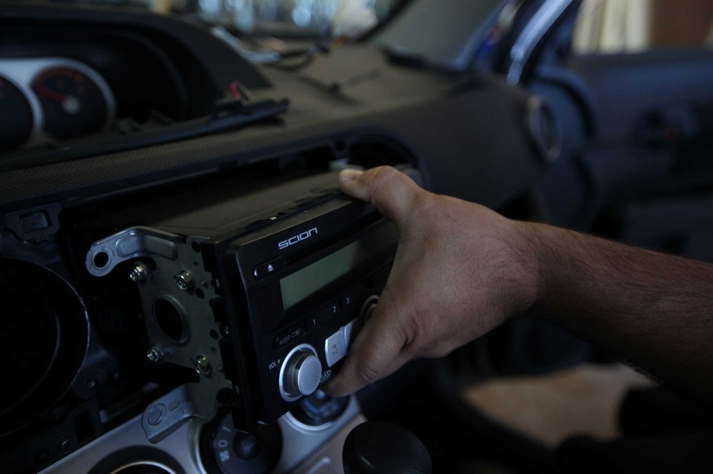 pioneer install pulling out scion stock stereo 02