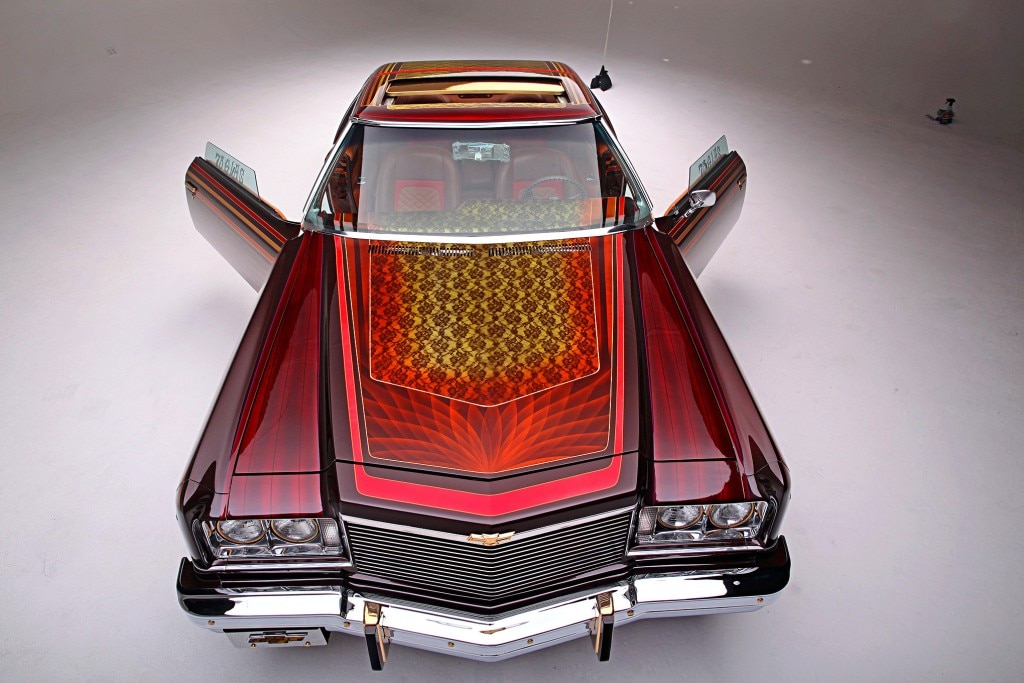 1975 chevrolet impala glasshouse top view front doors open