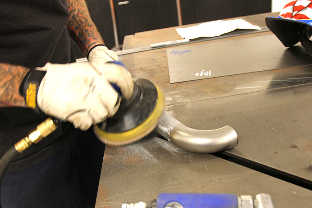 how to make custom coolant lines using exhaust tubing weld sanding