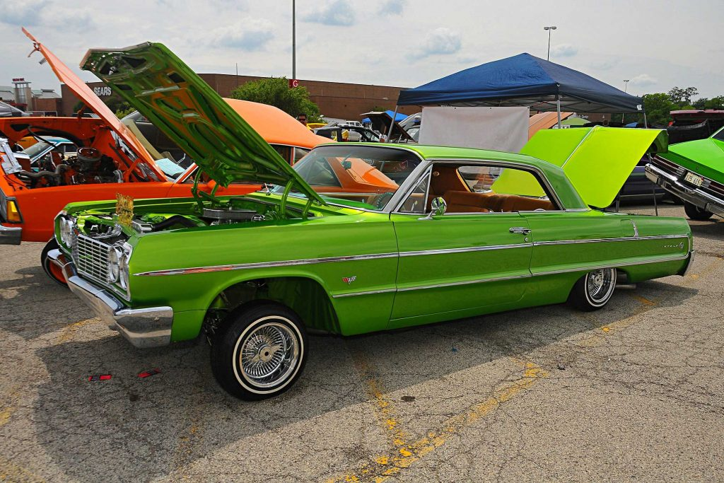 independent chicago car show lime green chevrolet impala 1964