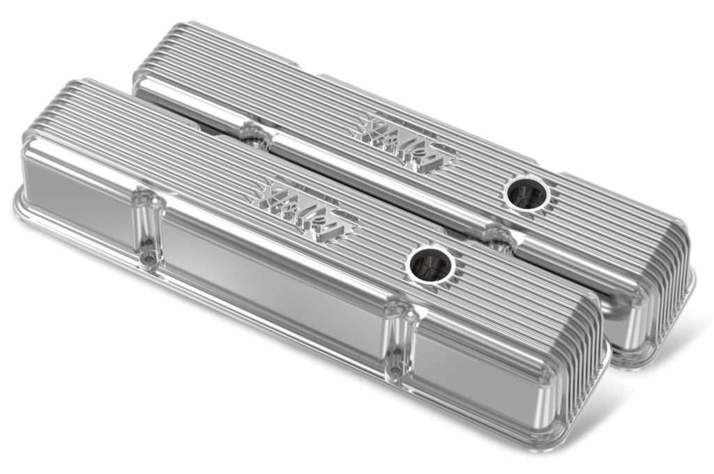 holley air cleanrs and valve covers polished vintage short series valve cover