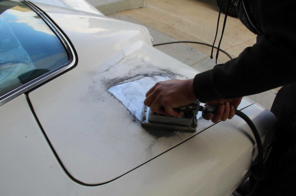 refining the fine lines of project riviera boat tail trunk lid patch sanding