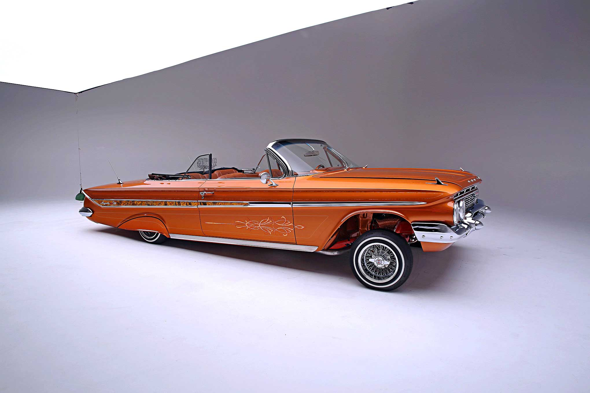 1961 chevrolet impala convertible top down passenger side view lowrider. Black Bedroom Furniture Sets. Home Design Ideas