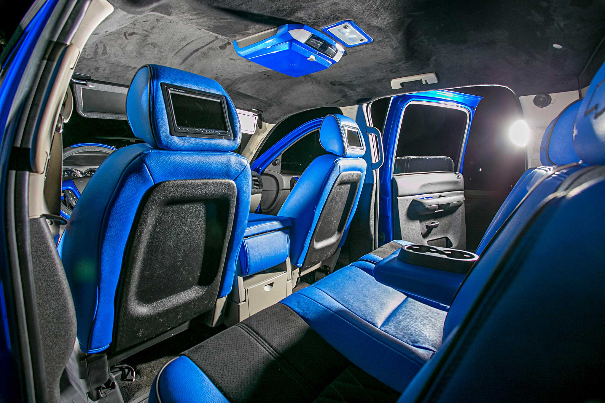 Chevrolet Silverado Blue Leather Interior on Dodge Dakota Seats