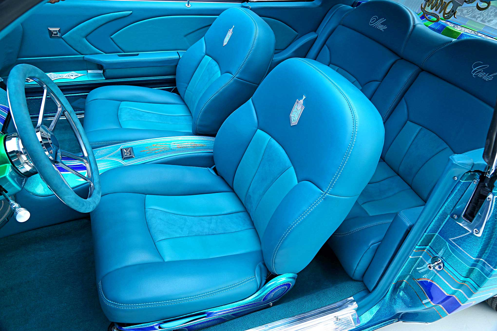 1979 Chevrolet Monte Carlo Teal Suede And Leather Front Seats - Lowrider