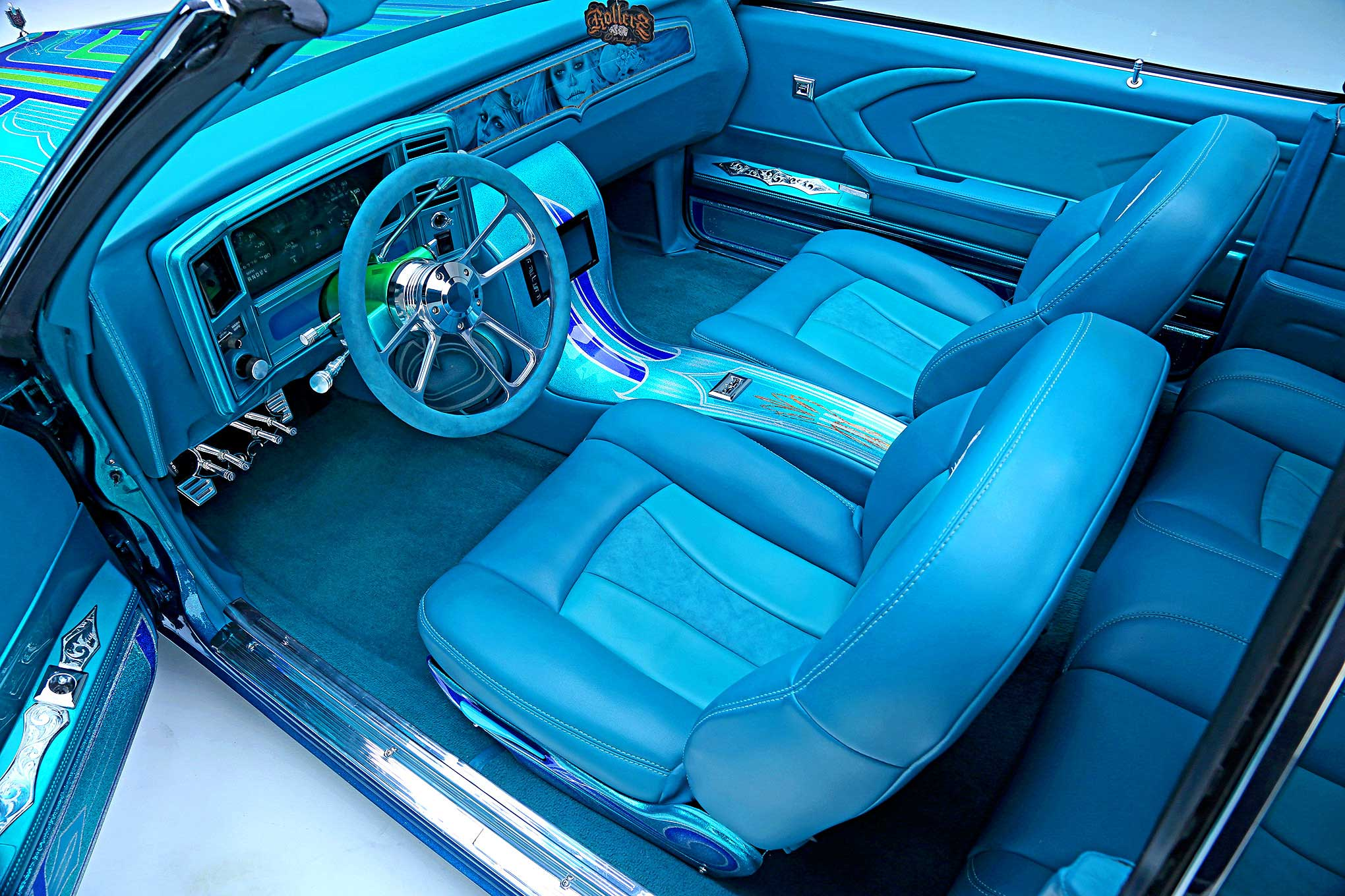 1979 Chevrolet Monte Carlo Teal Suede And Leather Interior Lowrider
