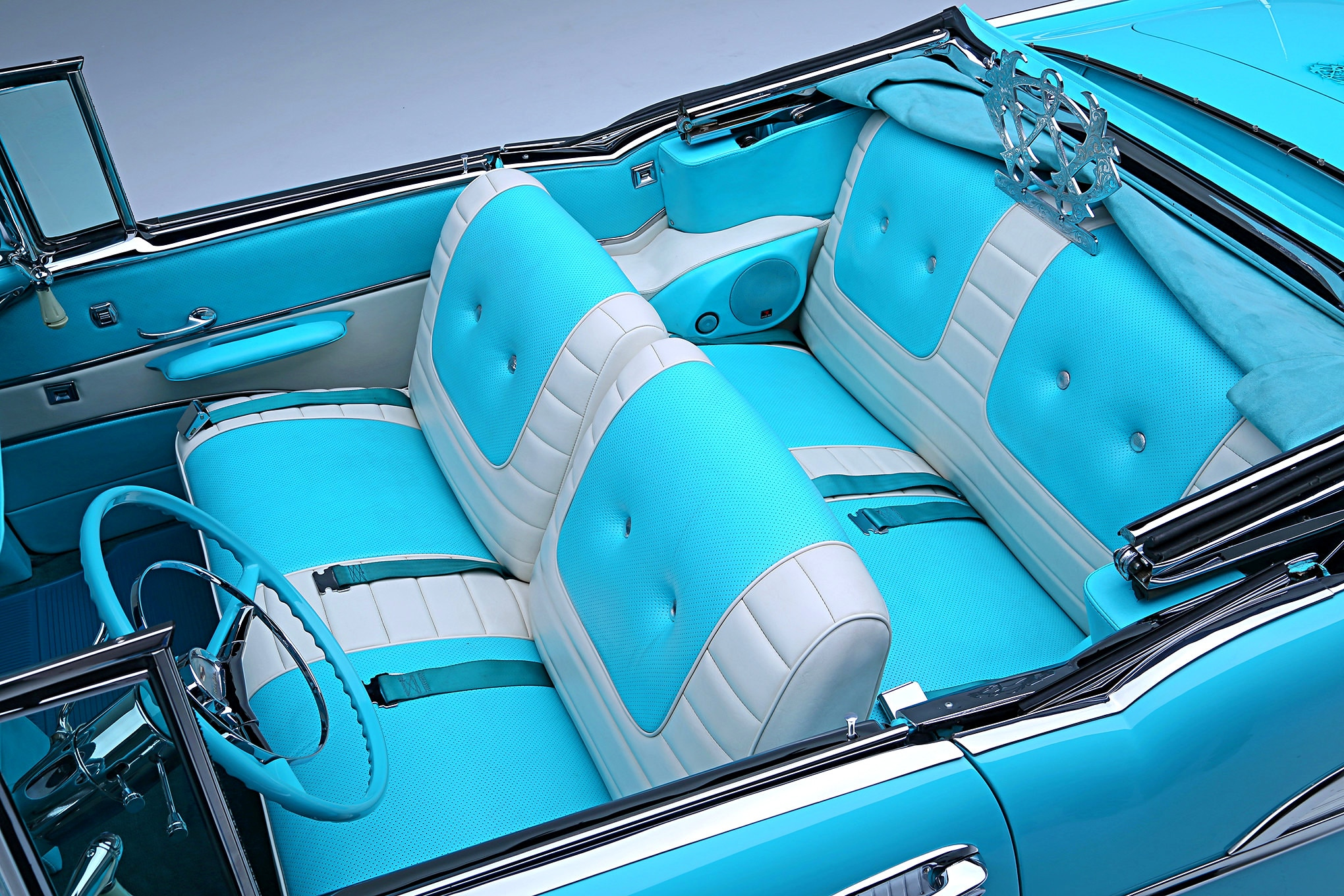 1957 Chevrolet Bel Air White Turquoise Interior Lowrider