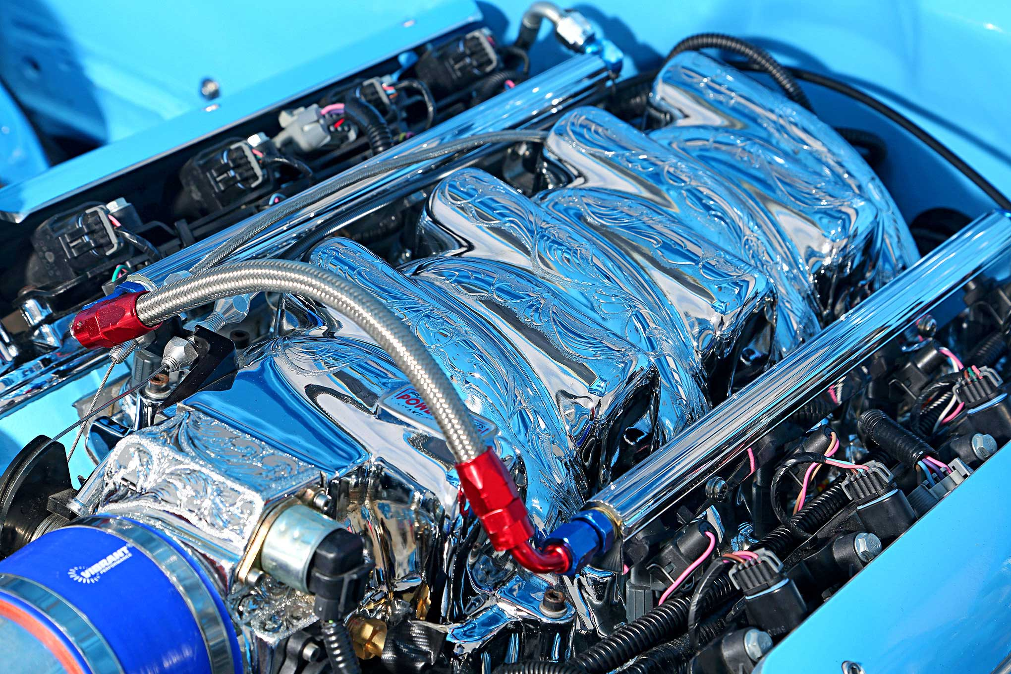 LS1 5.7 with Lokar valve covers, Vintage Air water pump and alternator,  Professional Products fuel injection and intake, Bosch starter, Accel  ignition, ...